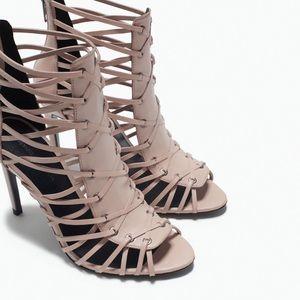 Zara blush high heel sandals 39
